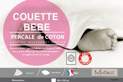 Couette Blanche Bébé Coton Percale Anti-acariens - 13099