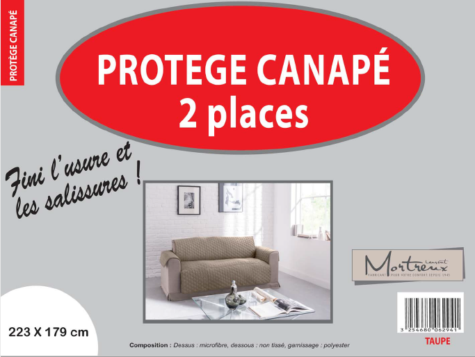 Canape 2 places taupe