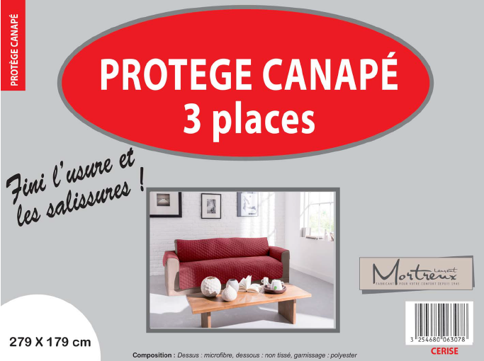 Canape 3 places cerise