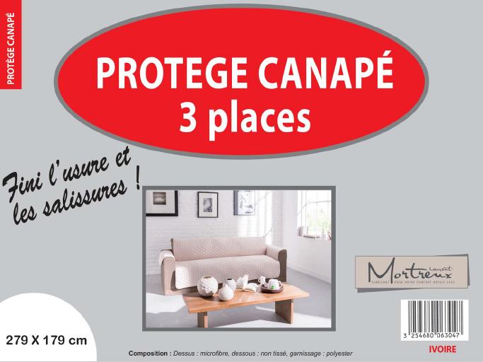 Canape 3 places ivoire