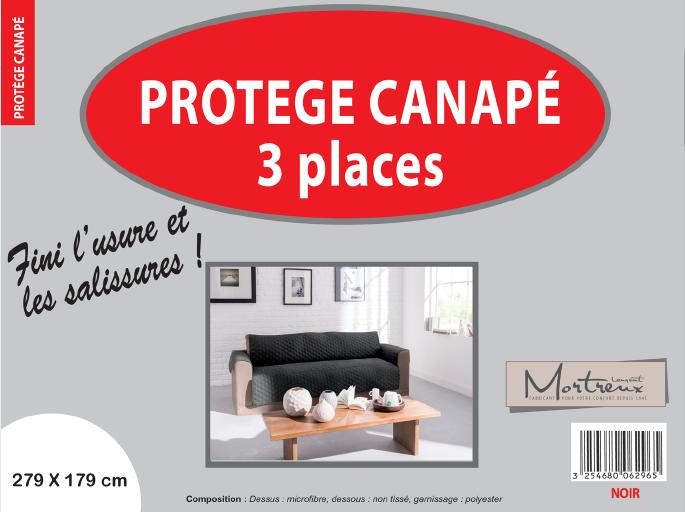 Canape 3 places noir