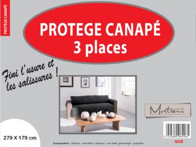 Protège Canapé 3 places Noir - 6296