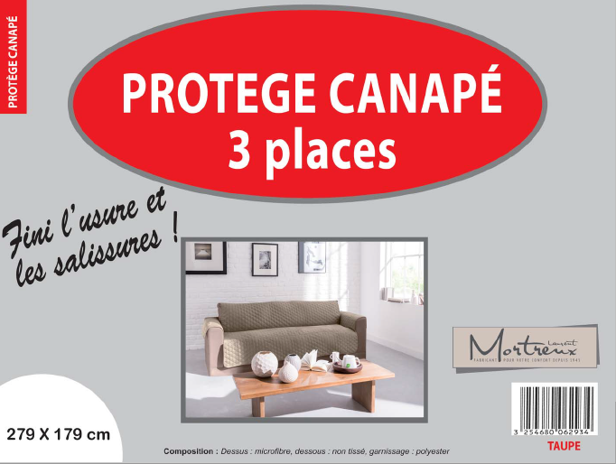Canape 3 places taupe