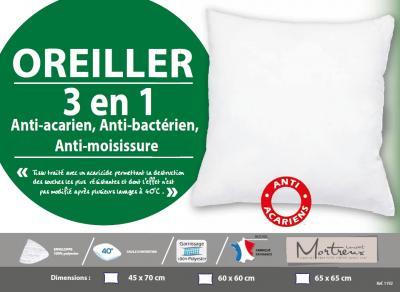 Oreiller blanc Anti-acariens, bactériens, fongiques Moelleux - 10106