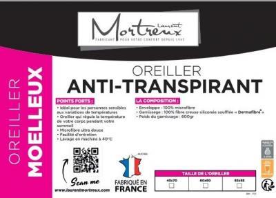 Oreiller blanc Anti-transpirant Moelleux 60x60 - 3824