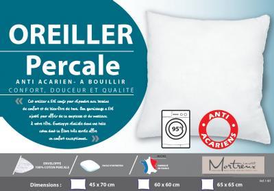 Oreiller blanc Coton percale Anti-Acariens Moelleux - 10114