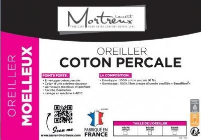 Oreiller Coton Percale Moelleux - 3914