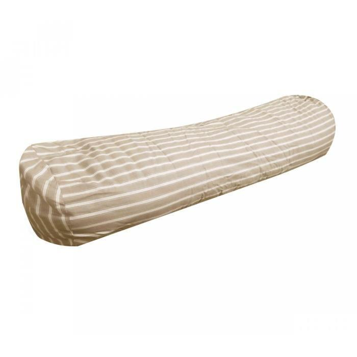 Traversin coton raye beige 90 cm